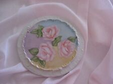 Hand Painted Tea Trivet with Three Roses~ Pastel