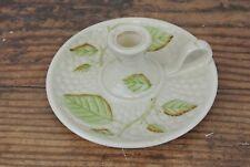 """Belleek Retrospect Candle Holder Candlestick 2002 Grape Leaf Motif 6 1/4"""""""