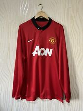 MANCHESTER UNITED 2013 2014 HOME FOOTBALL SHIRT JERSEY LONG SLEEVE NIKE ROONEY