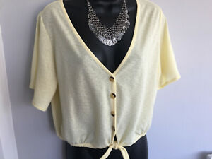 PRETTY WOMENS DIVIDED LEMON CROPPED TOP WITH WAIST TIE - SIZE LARGE - EXC CON