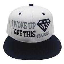 I WOKE UP LIKE THIS FLAWLESS Embroidered White/Black Snapback Hat Cap