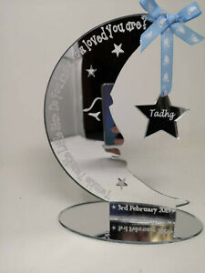 Mirrored Moon & Star Stand Personalised Baby Gift, Do you know how loved you are