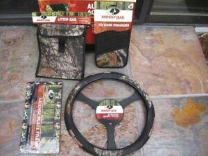 Mossy Oak Camo Auto 3 Grip Steering Wheel Cover License Plate,CD Visor,Trash Bag