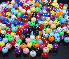 T004 Shiny Sparkling Silver Dots Dots Multi-colour Round Beads 8mm 100pcs