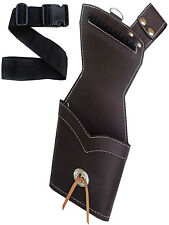 MILD BROWN LEATHER SIDE/HIP QUIVER WITH BELT ARCHERY PRODUCTS AQ171- RIGHT HAND