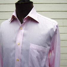 Peter Millar Dress Shirt Mens 15.5 Casual Dress Button-Front Pink Plaid Cotton
