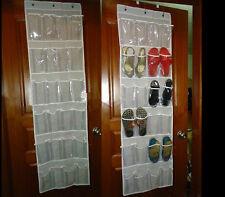 24 Pockets Clear Over Door Hanging Bag Shoe Rack Hanger Storage Holder Organizer
