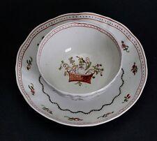 Chinese Export Porcelain Cup & Saucer Floral Basket Design