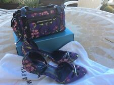 Karen Millen bolso y zapatos a juego. Seda Púrpura. Cuero Tamaño 6. Boda