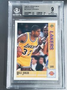 POP 6!🔥1990-91 Magic Johnson UPPER DECK PROTOTYPES #32 BGS 9 w/ 3 9.5 subs PSA