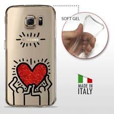 Galaxy S6 TPU CASE COVER GEL PROTETTIVA TRASPARENTE KEITH HARING Glitter Heart