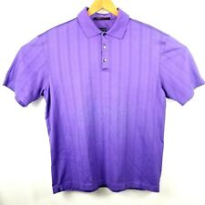 Tiger Woods Collection Nike Dry Fit Polo Men's Large Purple Textured Stripes