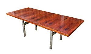 MERROW ASSOCIATES ROSEWOOD CHROME DINING TABLE VINTAGE 50s 60s 70s RETRO DANISH