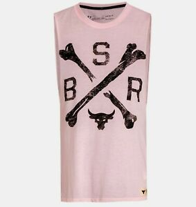 Under Armour Men's Project Rock Tank BSR Graphic Tank 1360741 PINK LARGE NEW