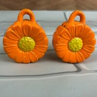 Vintage Salt and Pepper Shakers Japan Orange Flowers ceramic