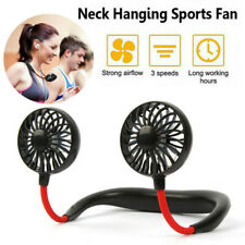 Lazy Neck Hanging Dual Mini Cooling Fan Sport Portable USB Rechargeable Fan