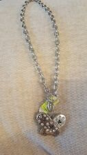 aura silver diamonte butterfly necklace