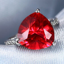 Handmade Natural 4.54ct Ruby Size US 7 14K White Gold Ring CM148