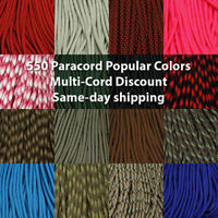 550 Paracord USA MADE Popular Colors 10, 25 & 50 Ft.  same day shipping (163)