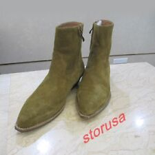 Mens Pointed Toe Cuban Heels Chelsea Boots Suede Leather High Top Shoes size Hot
