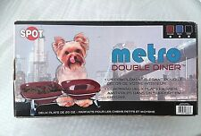 DOG DOUBLE DINER, SPOT METRO BRAND, 2 BLACK STONEWARE DISHES