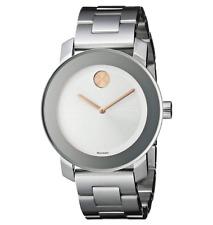 NEW Movado Bold Rose Crystal Dot Silver Tone Bracelet 3600084 36mm Swiss Watch