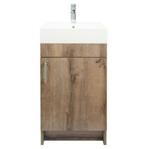 Mainstays Farmhouse 17.75 Inch Rustic Grey Single Sink Bathroom Vanity with Top,