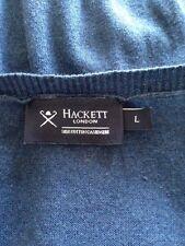 Mens Hackett London Indigo Silk Cotton Cashmere Fine Knit V-Neck Jumper Large