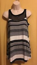 Cable & Gauge women's black ivory gray stripe mesh tank top S $58