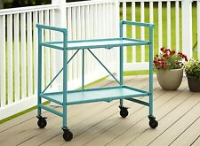 COSCO Indoor Outdoor Folding Serving Drinks Bar Cart Teal