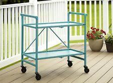 COSCO Indoor Outdoor Folding Serving Drinks Bar Cart Teal