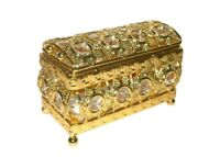 Gold-tone Jewelry Casket Box Mirror Inside Box