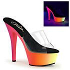"PLEASER Sexy Stripper Shoes Neon Rainbow UV Blacklight Platform 6"" High Heels"