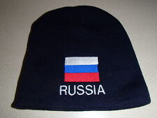 Russia Russian Flag Embroidered on Navy Knit Beanie Hat