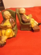 2 Vintage Heavy Cast Iron English Nobleman Bookends