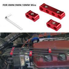 3Pc Aluminum Engine Spark Plug Wire Separator Divider Organizer Clamp Red 8-10mm
