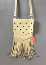 Vintage 60s Mod off white vinyl Fringe Bag shoulder strap Purse gogo dancer Nos