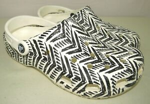 Crocs Drew X Tribal Print Black/White Chevron Clogs Size Men's 7 / Women's 9