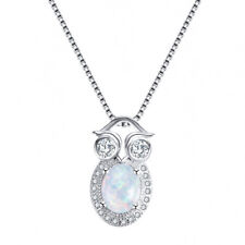 Neweset Handmade White FIre Opal Topaz Gems Solid Silver Owl Necklace Pendants
