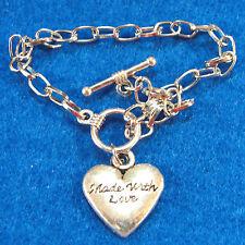 "5Pcs. Tibetan Charm Bracelets  7-3/4"" (20cm) Silver  w/ HEART & Toggle Clasp B23"