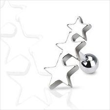 "16g 1/4"" Triple Star Cartilage Tragus Ear Earring Barbell 1-Piece"