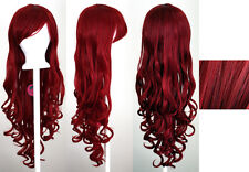 29'' Long Curly w/ Long Bangs Crimson Red Cosplay Wig NEW