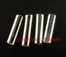 100pcs Silver Plated Smooth Tubes Findings 4x15mm I145