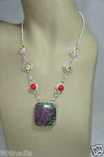 MODERNIST SILVER,CITRINE,CORAL,BOULDER OPAL NECKLACE PENDANT HAND CRAFTED