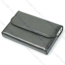 New Black Chic Pocket Leather Name Business Card Case Holder