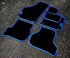 Car Mats in Black/Blue Trim to fit Volkswagen Golf Mk5 (2004-2009) + Old R Logos