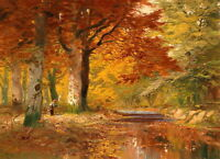 Art Canvas Print Autumn forest Scene Oil painting Giclee Printed on canvas P188