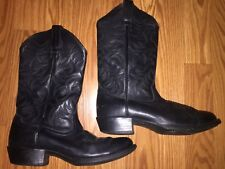 Used Men's Ariat Black Leather Cowboy Boots SZ 9D Western Style 10002218