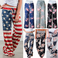 Plus Size Womens Floral Yoga Palazzo Trousers Summer Casual Loose Wide Leg Pants