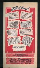 Jack Dempsey's Broadway Restaurant Mailing Menu August 13 1946 Boxer